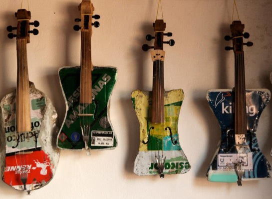 Landfill Harmonic instruments from junk